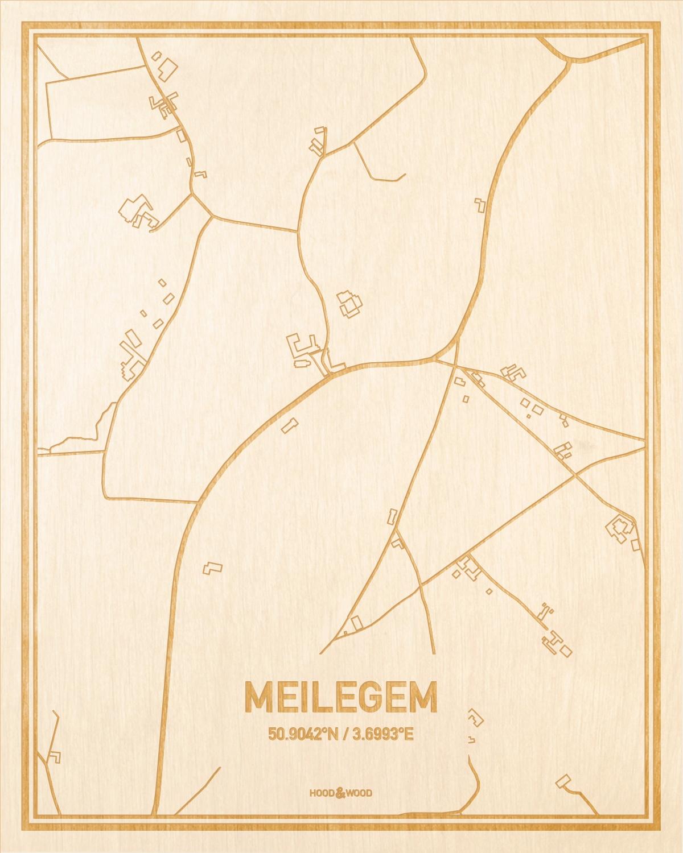 Het wegennet van de plattegrond Meilegem gegraveerd in hout. Het resultaat is een prachtige houten kaart van een van de charmantse plekken uit Oost-Vlaanderen  voor aan je muur als decoratie.