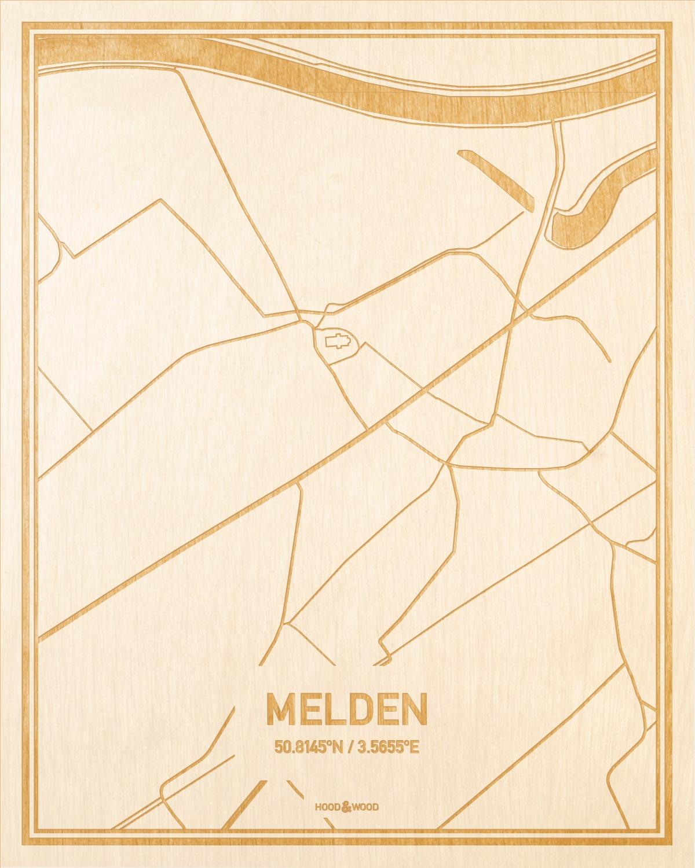 Het wegennet van de plattegrond Melden gegraveerd in hout. Het resultaat is een prachtige houten kaart van een van de beste plekken uit Oost-Vlaanderen  voor aan je muur als decoratie.