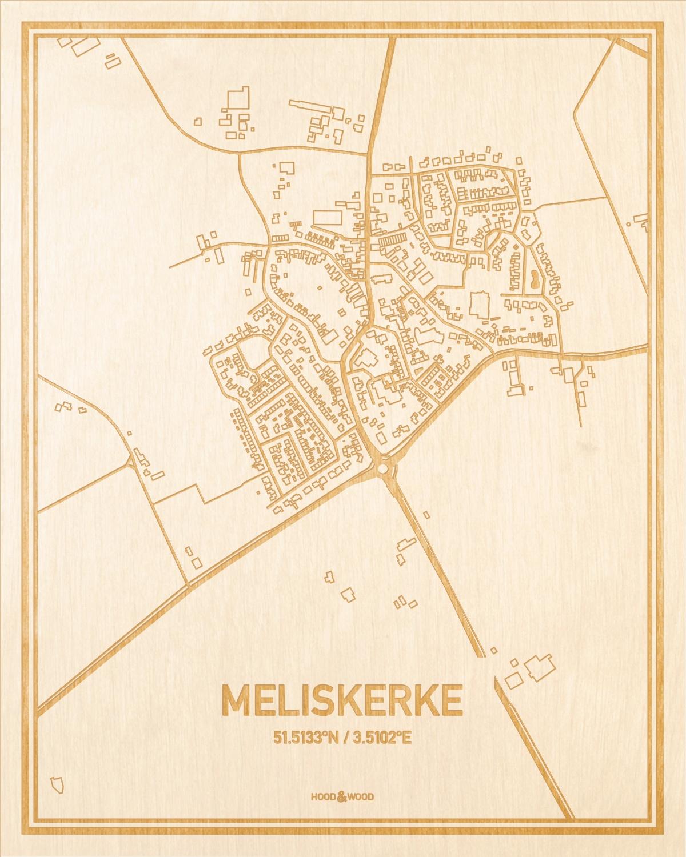 Het wegennet van de plattegrond Meliskerke gegraveerd in hout. Het resultaat is een prachtige houten kaart van een van de charmantse plekken uit Zeeland voor aan je muur als decoratie.