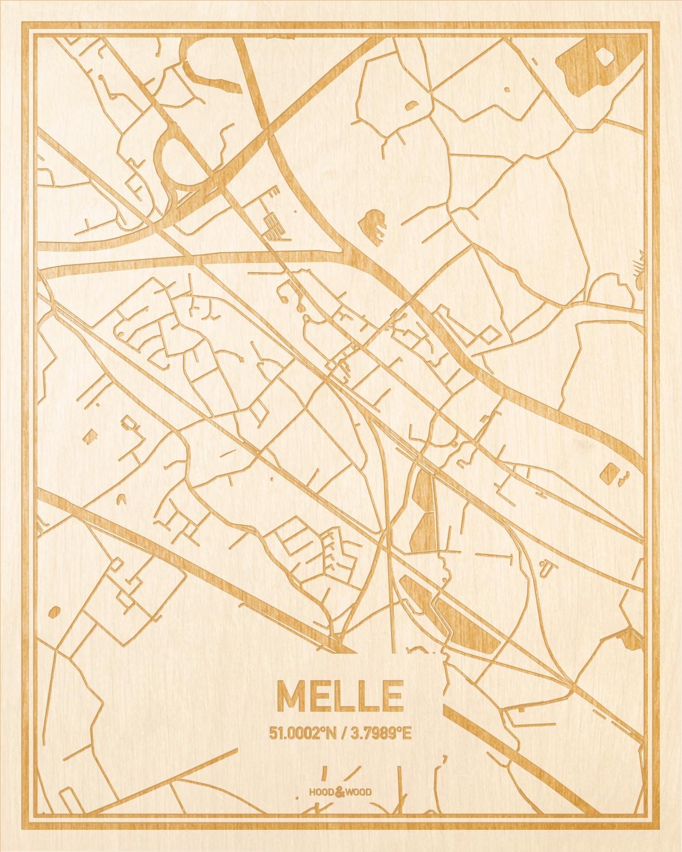 Het wegennet van de plattegrond Melle gegraveerd in hout. Het resultaat is een prachtige houten kaart van een van de beste plekken uit Oost-Vlaanderen  voor aan je muur als decoratie.