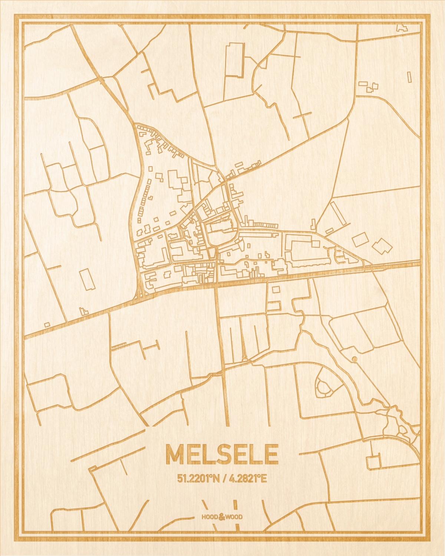 Het wegennet van de plattegrond Melsele gegraveerd in hout. Het resultaat is een prachtige houten kaart van een van de charmantse plekken uit Oost-Vlaanderen  voor aan je muur als decoratie.