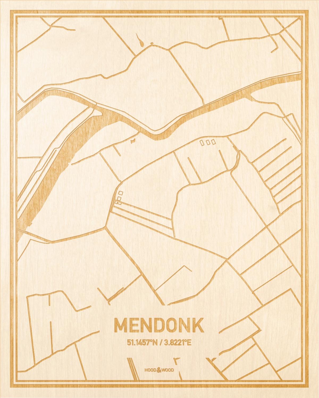 Het wegennet van de plattegrond Mendonk gegraveerd in hout. Het resultaat is een prachtige houten kaart van een van de mooiste plekken uit Oost-Vlaanderen  voor aan je muur als decoratie.