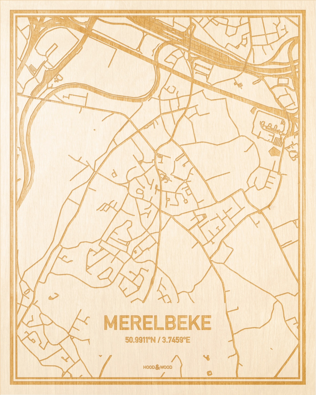 Het wegennet van de plattegrond Merelbeke gegraveerd in hout. Het resultaat is een prachtige houten kaart van een van de charmantse plekken uit Oost-Vlaanderen  voor aan je muur als decoratie.