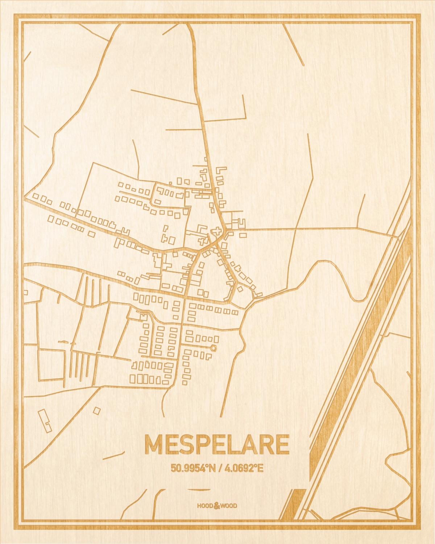 Het wegennet van de plattegrond Mespelare gegraveerd in hout. Het resultaat is een prachtige houten kaart van een van de gezelligste plekken uit Oost-Vlaanderen  voor aan je muur als decoratie.