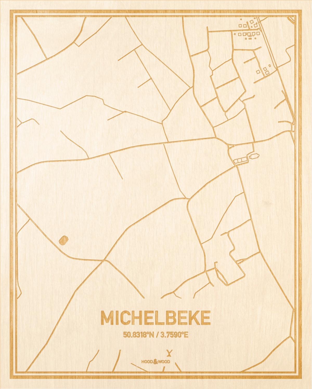 Het wegennet van de plattegrond Michelbeke gegraveerd in hout. Het resultaat is een prachtige houten kaart van een van de beste plekken uit Oost-Vlaanderen  voor aan je muur als decoratie.