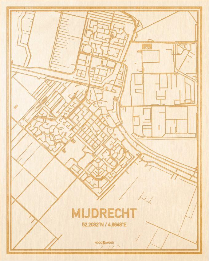 Het wegennet van de plattegrond Mijdrecht gegraveerd in hout. Het resultaat is een prachtige houten kaart van een van de leukste plekken uit Utrecht voor aan je muur als decoratie.