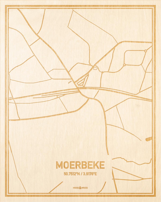 Het wegennet van de plattegrond Moerbeke gegraveerd in hout. Het resultaat is een prachtige houten kaart van een van de gezelligste plekken uit Oost-Vlaanderen  voor aan je muur als decoratie.