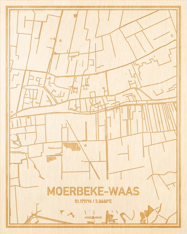 Het wegennet van de plattegrond Moerbeke-Waas gegraveerd in hout. Het resultaat is een prachtige houten kaart van een van de leukste plekken uit Oost-Vlaanderen  voor aan je muur als decoratie.