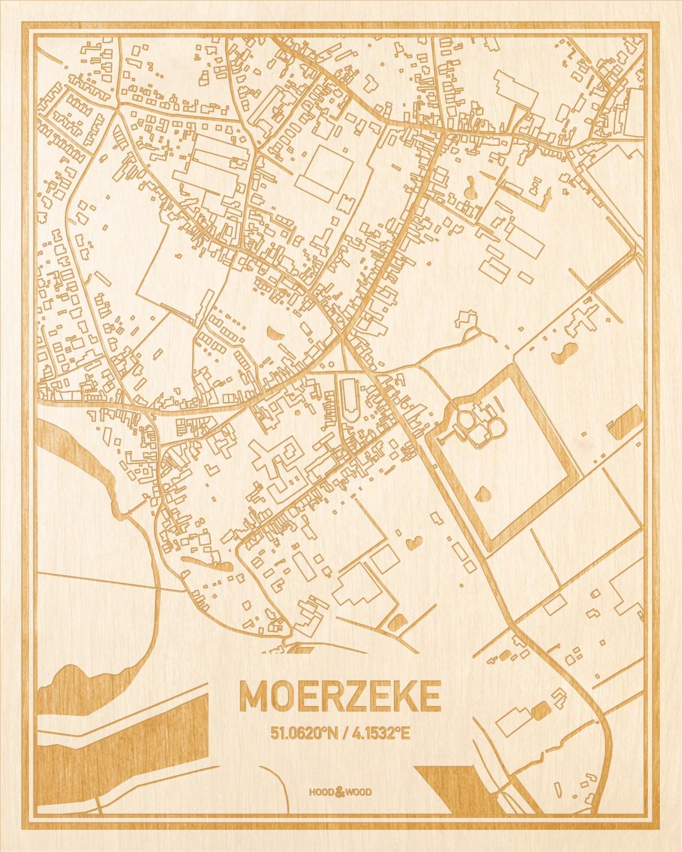Het wegennet van de plattegrond Moerzeke gegraveerd in hout. Het resultaat is een prachtige houten kaart van een van de beste plekken uit Oost-Vlaanderen  voor aan je muur als decoratie.