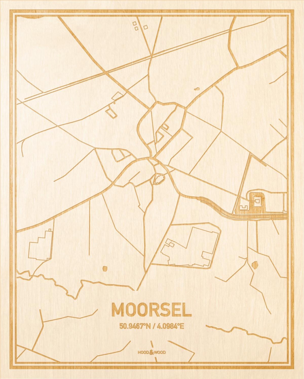 Het wegennet van de plattegrond Moorsel gegraveerd in hout. Het resultaat is een prachtige houten kaart van een van de beste plekken uit Oost-Vlaanderen  voor aan je muur als decoratie.