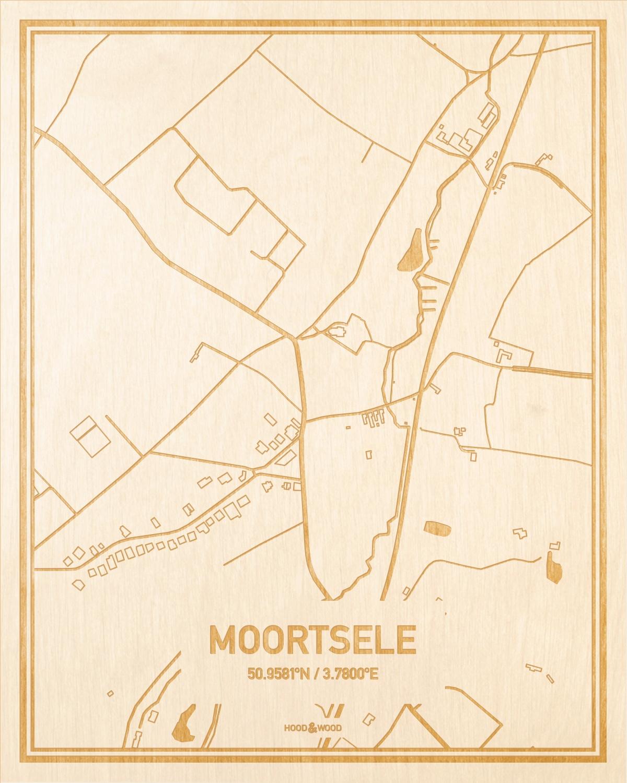 Het wegennet van de plattegrond Moortsele gegraveerd in hout. Het resultaat is een prachtige houten kaart van een van de charmantse plekken uit Oost-Vlaanderen  voor aan je muur als decoratie.