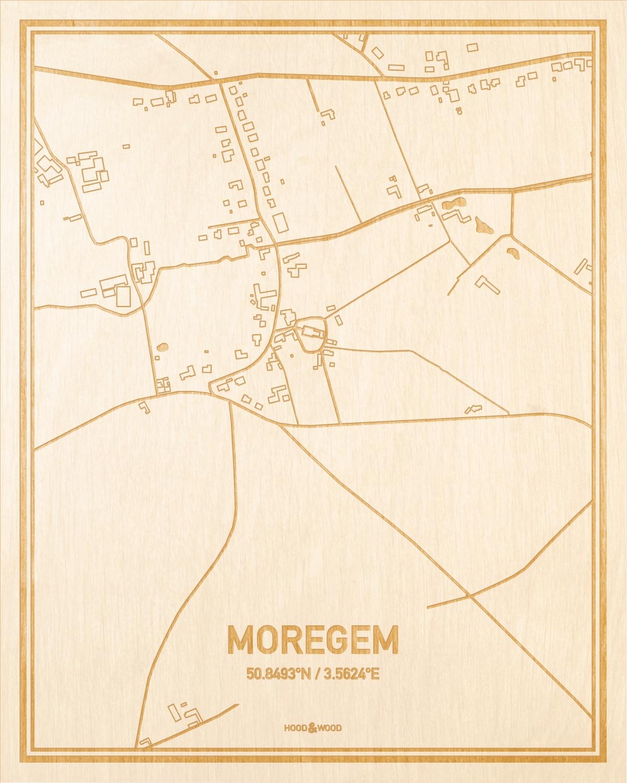 Het wegennet van de plattegrond Moregem gegraveerd in hout. Het resultaat is een prachtige houten kaart van een van de gezelligste plekken uit Oost-Vlaanderen  voor aan je muur als decoratie.