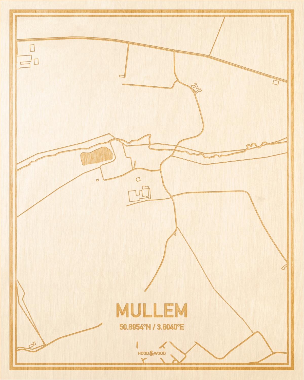 Het wegennet van de plattegrond Mullem gegraveerd in hout. Het resultaat is een prachtige houten kaart van een van de beste plekken uit Oost-Vlaanderen  voor aan je muur als decoratie.