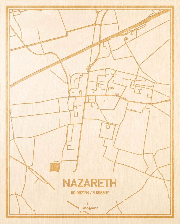 Het wegennet van de plattegrond Nazareth gegraveerd in hout. Het resultaat is een prachtige houten kaart van een van de beste plekken uit Oost-Vlaanderen  voor aan je muur als decoratie.