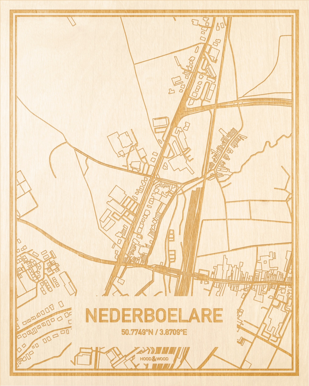 Het wegennet van de plattegrond Nederboelare gegraveerd in hout. Het resultaat is een prachtige houten kaart van een van de charmantse plekken uit Oost-Vlaanderen  voor aan je muur als decoratie.