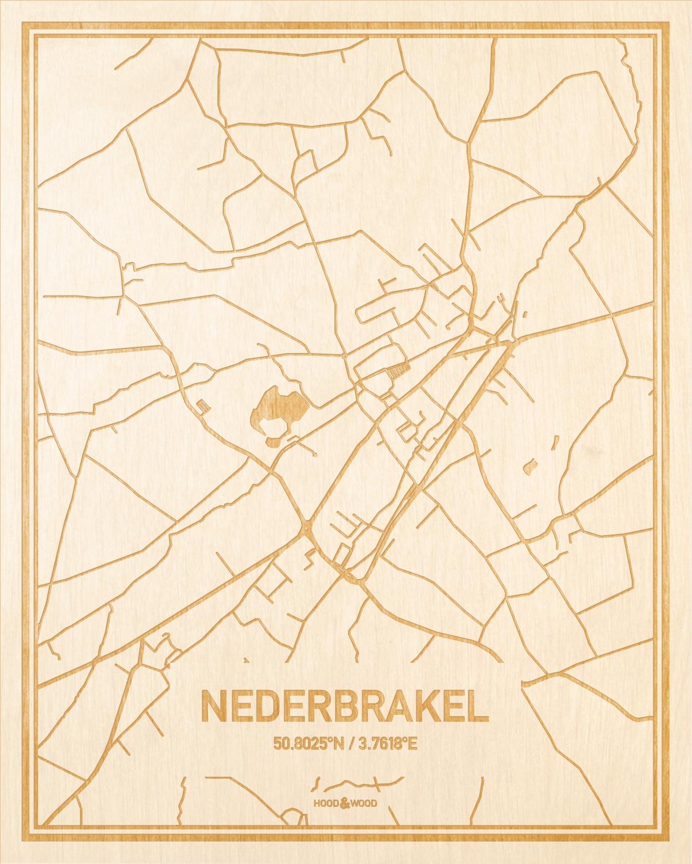 Het wegennet van de plattegrond Nederbrakel gegraveerd in hout. Het resultaat is een prachtige houten kaart van een van de leukste plekken uit Oost-Vlaanderen  voor aan je muur als decoratie.