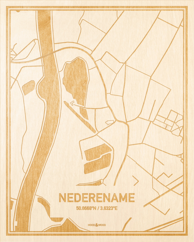 Het wegennet van de plattegrond Nederename gegraveerd in hout. Het resultaat is een prachtige houten kaart van een van de leukste plekken uit Oost-Vlaanderen  voor aan je muur als decoratie.