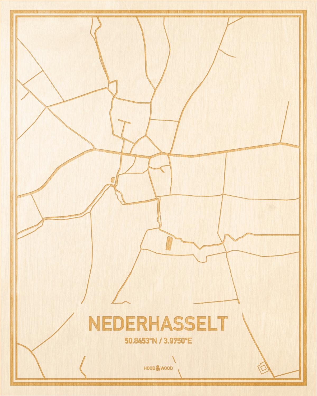Het wegennet van de plattegrond Nederhasselt gegraveerd in hout. Het resultaat is een prachtige houten kaart van een van de leukste plekken uit Oost-Vlaanderen  voor aan je muur als decoratie.