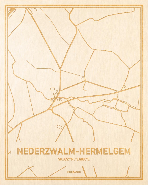 Het wegennet van de plattegrond Nederzwalm-Hermelgem gegraveerd in hout. Het resultaat is een prachtige houten kaart van een van de beste plekken uit Oost-Vlaanderen  voor aan je muur als decoratie.