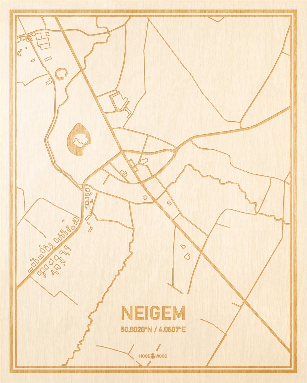 Het wegennet van de plattegrond Neigem gegraveerd in hout. Het resultaat is een prachtige houten kaart van een van de leukste plekken uit Oost-Vlaanderen  voor aan je muur als decoratie.