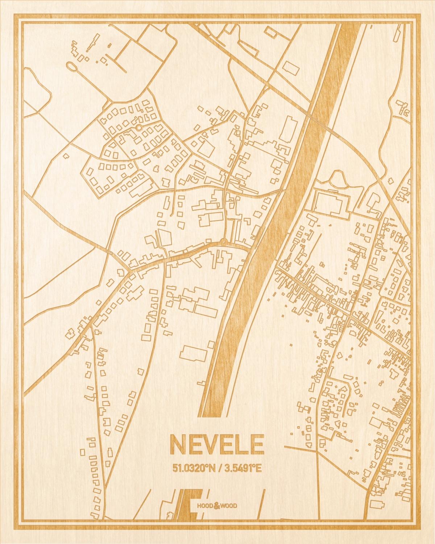 Het wegennet van de plattegrond Nevele gegraveerd in hout. Het resultaat is een prachtige houten kaart van een van de gezelligste plekken uit Oost-Vlaanderen  voor aan je muur als decoratie.