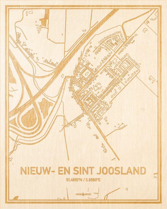 Het wegennet van de plattegrond Nieuw- en Sint Joosland gegraveerd in hout. Het resultaat is een prachtige houten kaart van een van de charmantse plekken uit Zeeland voor aan je muur als decoratie.