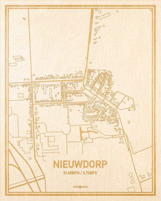 Het wegennet van de plattegrond Nieuwdorp gegraveerd in hout. Het resultaat is een prachtige houten kaart van een van de gezelligste plekken uit Zeeland voor aan je muur als decoratie.