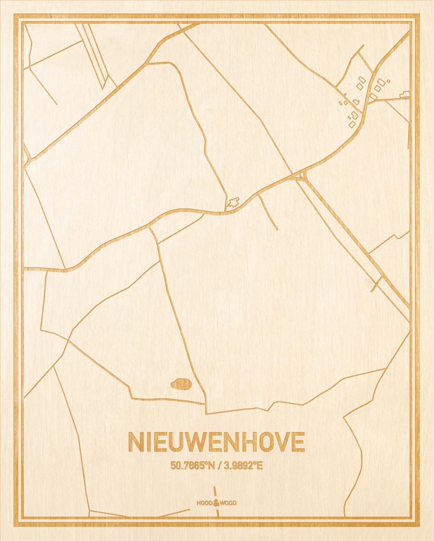 Het wegennet van de plattegrond Nieuwenhove gegraveerd in hout. Het resultaat is een prachtige houten kaart van een van de mooiste plekken uit Oost-Vlaanderen  voor aan je muur als decoratie.