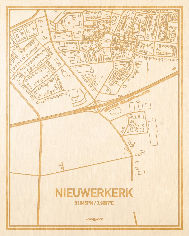 Het wegennet van de plattegrond Nieuwerkerk gegraveerd in hout. Het resultaat is een prachtige houten kaart van een van de beste plekken uit Zeeland voor aan je muur als decoratie.
