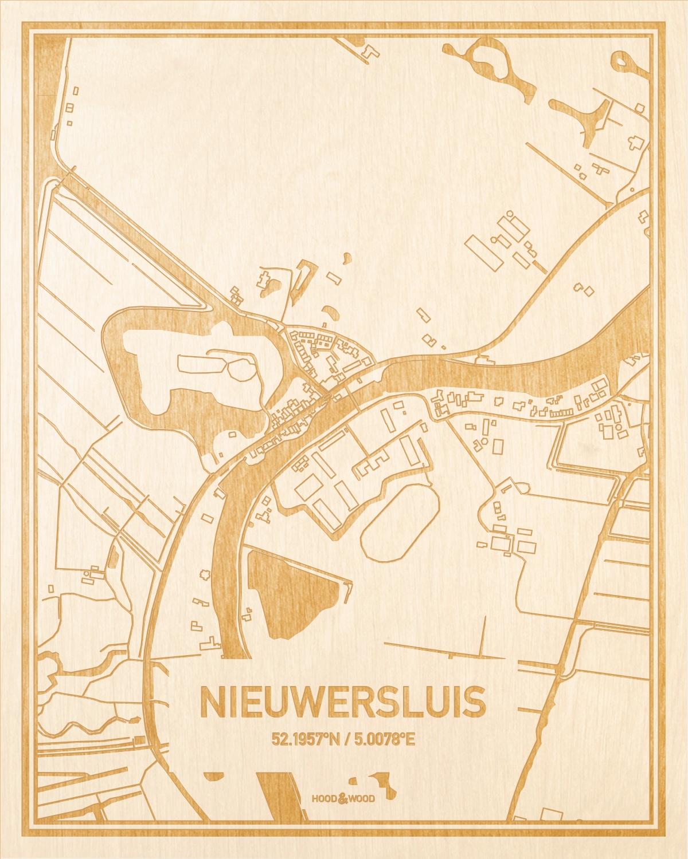 Het wegennet van de plattegrond Nieuwersluis gegraveerd in hout. Het resultaat is een prachtige houten kaart van een van de charmantse plekken uit Utrecht voor aan je muur als decoratie.