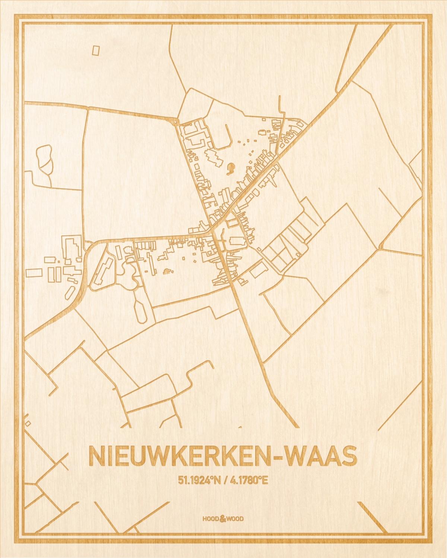 Het wegennet van de plattegrond Nieuwkerken-Waas gegraveerd in hout. Het resultaat is een prachtige houten kaart van een van de mooiste plekken uit Oost-Vlaanderen  voor aan je muur als decoratie.