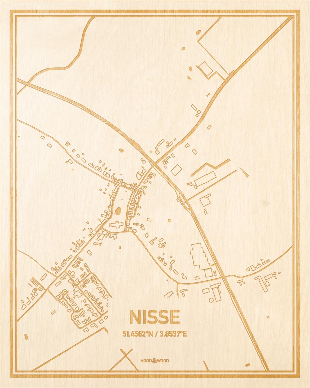 Het wegennet van de plattegrond Nisse gegraveerd in hout. Het resultaat is een prachtige houten kaart van een van de charmantse plekken uit Zeeland voor aan je muur als decoratie.