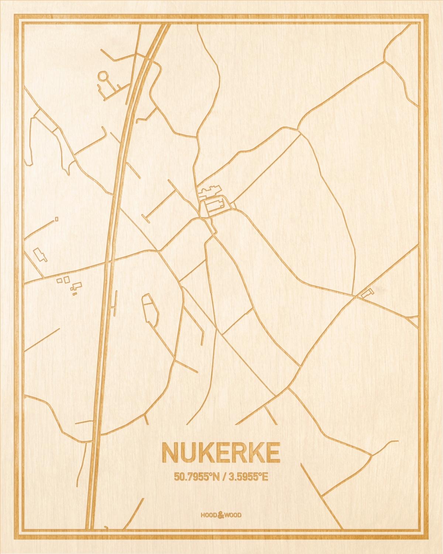Het wegennet van de plattegrond Nukerke gegraveerd in hout. Het resultaat is een prachtige houten kaart van een van de charmantse plekken uit Oost-Vlaanderen  voor aan je muur als decoratie.
