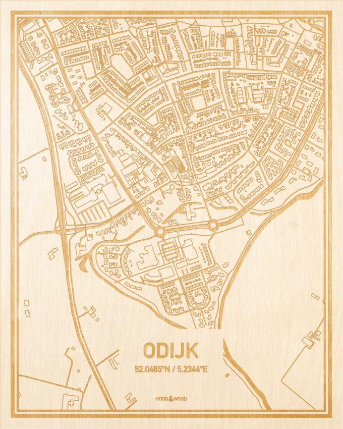 Het wegennet van de plattegrond Odijk gegraveerd in hout. Het resultaat is een prachtige houten kaart van een van de leukste plekken uit Utrecht voor aan je muur als decoratie.