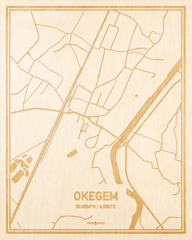 Het wegennet van de plattegrond Okegem gegraveerd in hout. Het resultaat is een prachtige houten kaart van een van de mooiste plekken uit Oost-Vlaanderen  voor aan je muur als decoratie.