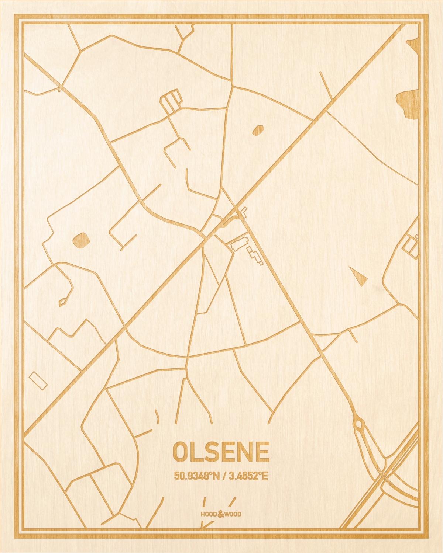Het wegennet van de plattegrond Olsene gegraveerd in hout. Het resultaat is een prachtige houten kaart van een van de charmantse plekken uit Oost-Vlaanderen  voor aan je muur als decoratie.