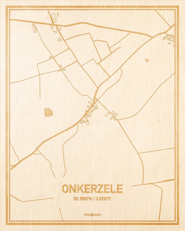 Het wegennet van de plattegrond Onkerzele gegraveerd in hout. Het resultaat is een prachtige houten kaart van een van de mooiste plekken uit Oost-Vlaanderen  voor aan je muur als decoratie.