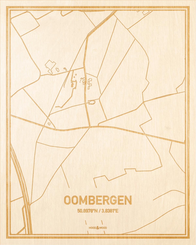 Het wegennet van de plattegrond Oombergen gegraveerd in hout. Het resultaat is een prachtige houten kaart van een van de charmantse plekken uit Oost-Vlaanderen  voor aan je muur als decoratie.