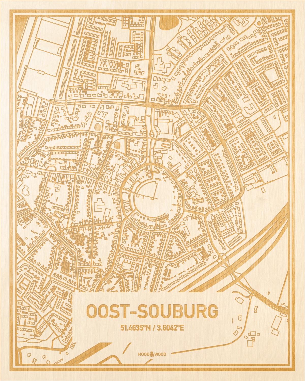 Het wegennet van de plattegrond Oost-Souburg gegraveerd in hout. Het resultaat is een prachtige houten kaart van een van de beste plekken uit Zeeland voor aan je muur als decoratie.