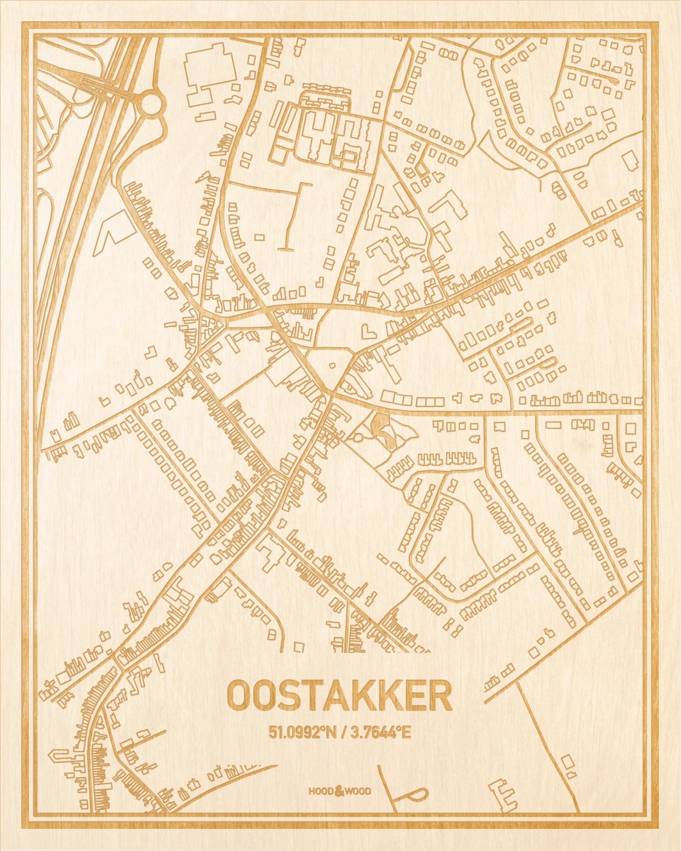 Het wegennet van de plattegrond Oostakker gegraveerd in hout. Het resultaat is een prachtige houten kaart van een van de gezelligste plekken uit Oost-Vlaanderen  voor aan je muur als decoratie.