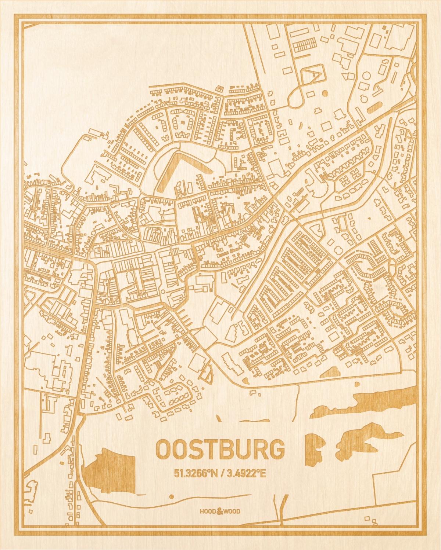 Het wegennet van de plattegrond Oostburg gegraveerd in hout. Het resultaat is een prachtige houten kaart van een van de mooiste plekken uit Zeeland voor aan je muur als decoratie.