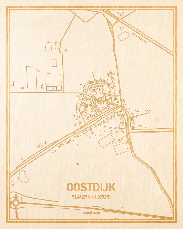 Het wegennet van de plattegrond Oostdijk gegraveerd in hout. Het resultaat is een prachtige houten kaart van een van de leukste plekken uit Zeeland voor aan je muur als decoratie.