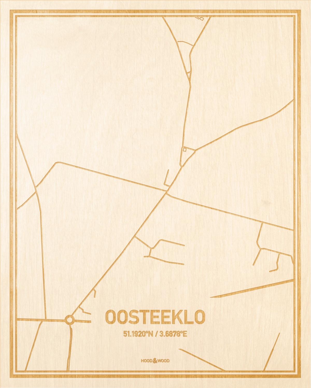 Het wegennet van de plattegrond Oosteeklo gegraveerd in hout. Het resultaat is een prachtige houten kaart van een van de charmantse plekken uit Oost-Vlaanderen  voor aan je muur als decoratie.