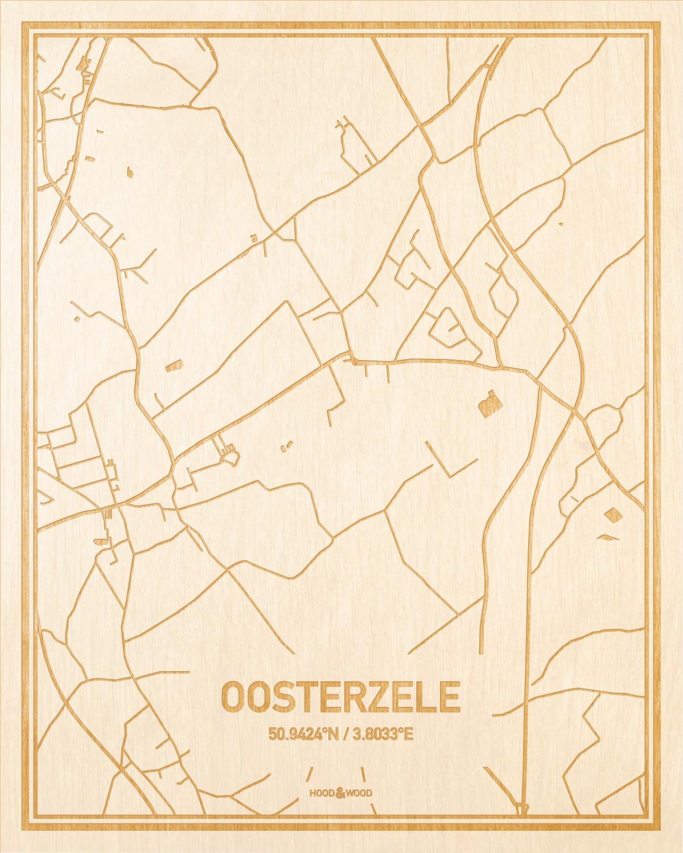 Het wegennet van de plattegrond Oosterzele gegraveerd in hout. Het resultaat is een prachtige houten kaart van een van de gezelligste plekken uit Oost-Vlaanderen  voor aan je muur als decoratie.