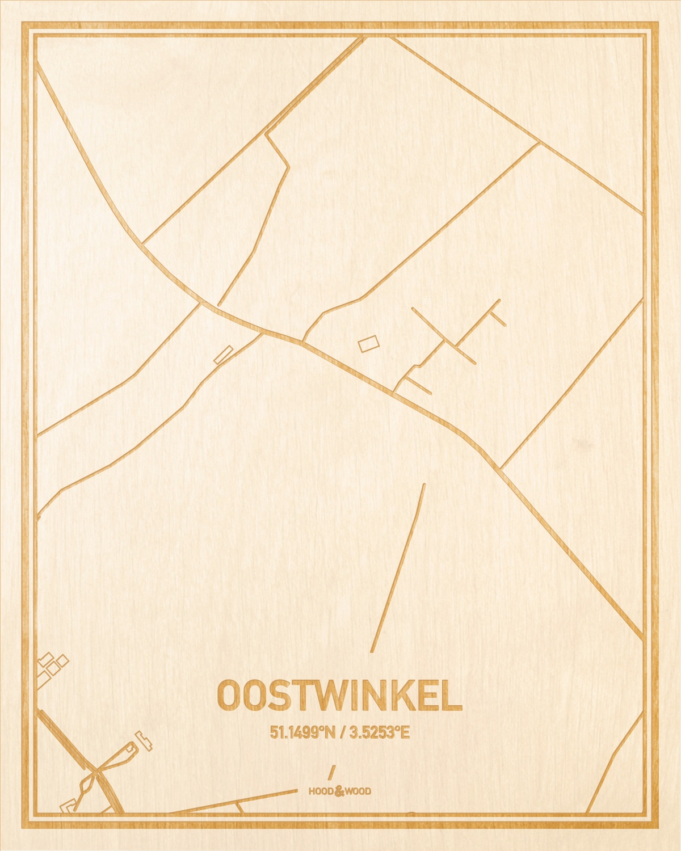 Het wegennet van de plattegrond Oostwinkel gegraveerd in hout. Het resultaat is een prachtige houten kaart van een van de charmantse plekken uit Oost-Vlaanderen  voor aan je muur als decoratie.
