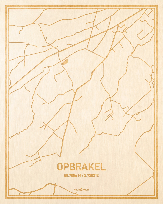 Het wegennet van de plattegrond Opbrakel gegraveerd in hout. Het resultaat is een prachtige houten kaart van een van de charmantse plekken uit Oost-Vlaanderen  voor aan je muur als decoratie.