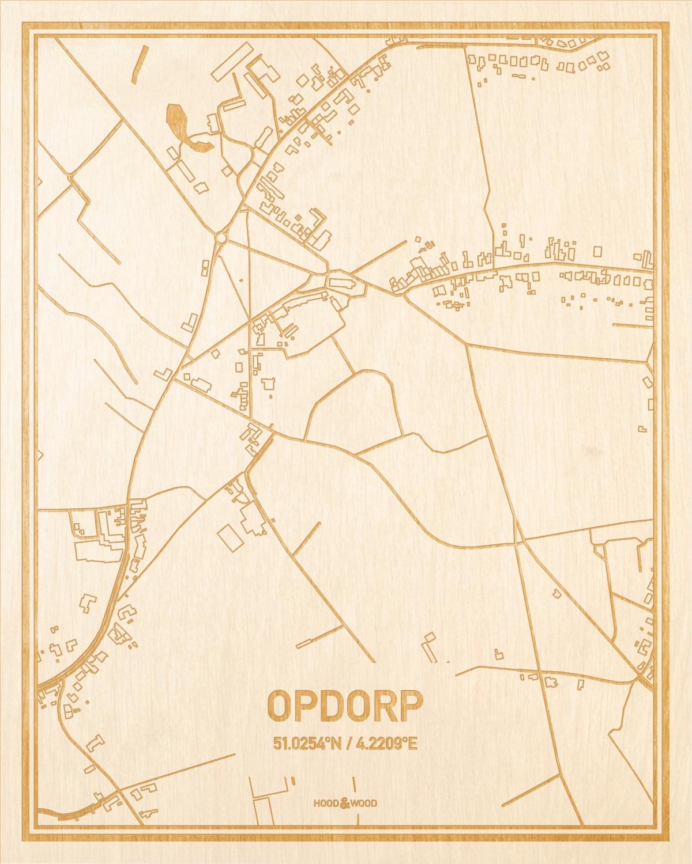 Het wegennet van de plattegrond Opdorp gegraveerd in hout. Het resultaat is een prachtige houten kaart van een van de mooiste plekken uit Oost-Vlaanderen  voor aan je muur als decoratie.