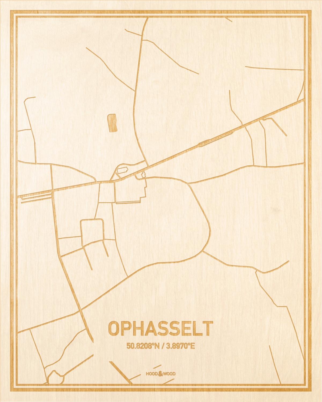 Het wegennet van de plattegrond Ophasselt gegraveerd in hout. Het resultaat is een prachtige houten kaart van een van de mooiste plekken uit Oost-Vlaanderen  voor aan je muur als decoratie.
