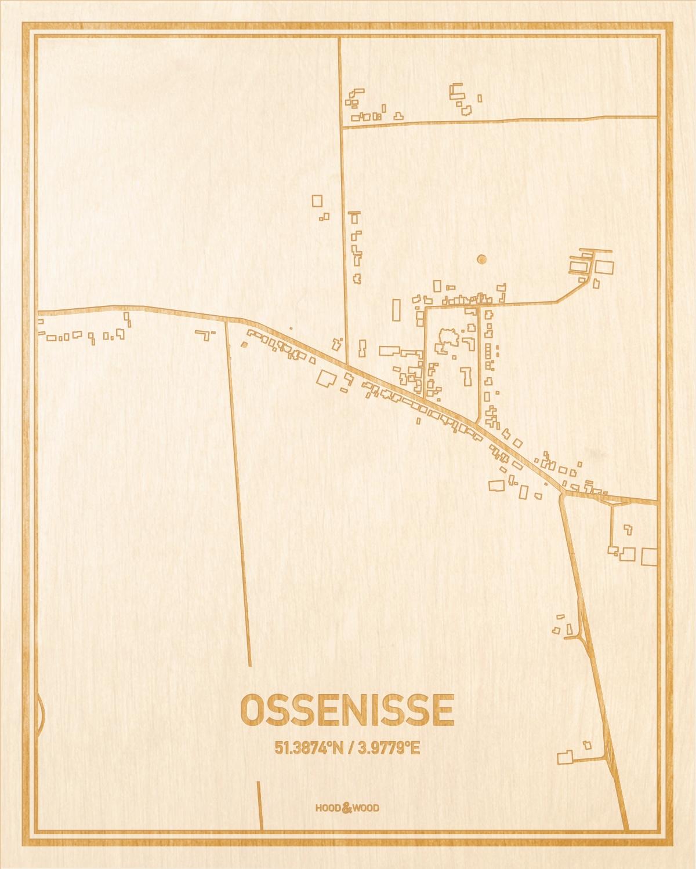 Het wegennet van de plattegrond Ossenisse gegraveerd in hout. Het resultaat is een prachtige houten kaart van een van de beste plekken uit Zeeland voor aan je muur als decoratie.