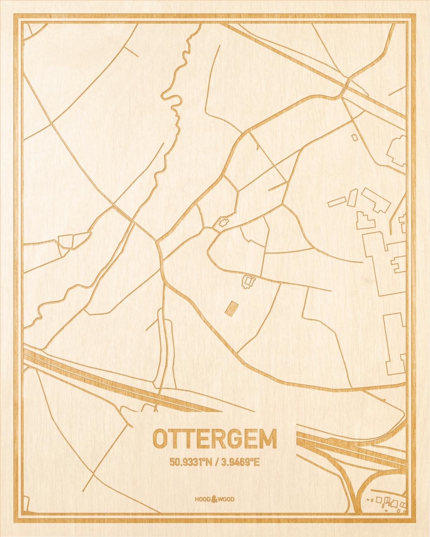 Het wegennet van de plattegrond Ottergem gegraveerd in hout. Het resultaat is een prachtige houten kaart van een van de gezelligste plekken uit Oost-Vlaanderen  voor aan je muur als decoratie.
